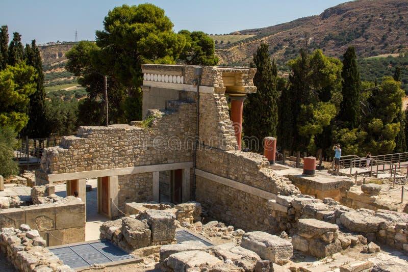 Ruiny Knossos pałac na Crete (pałac minotaur) zdjęcie stock