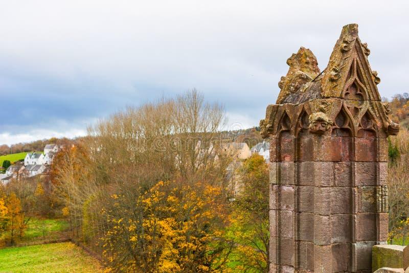 Ruiny Melrose opactwo w Szkockim granica regionie w Scotlan fotografia stock