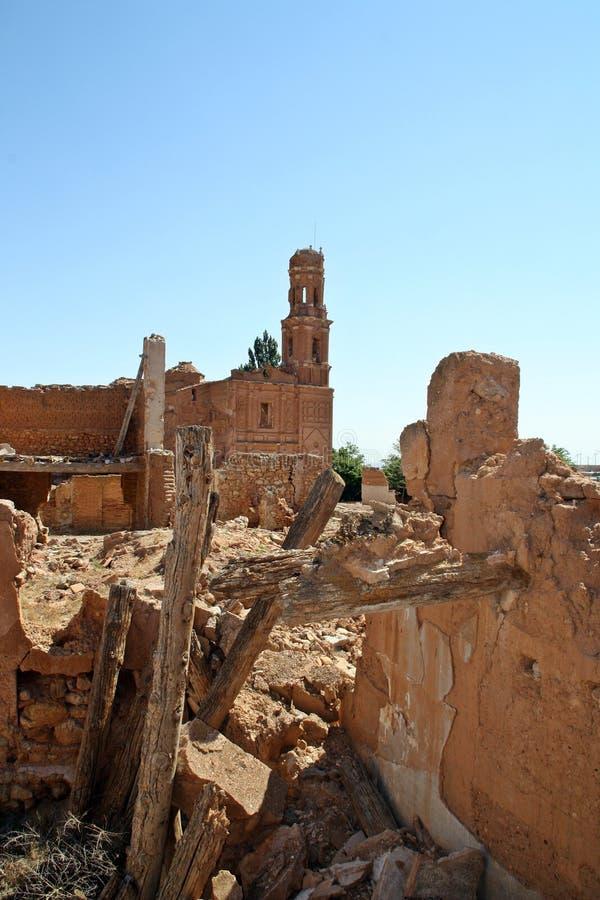 Ruiny miasteczko bombardujący w Hiszpańskiej wojnie domowej, bitwa Belchite Hiszpania obrazy royalty free