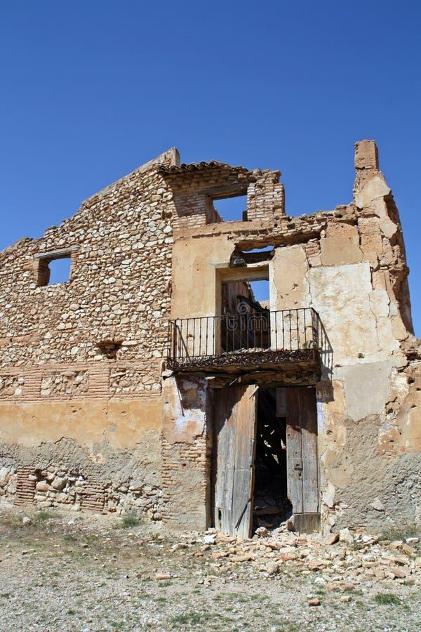 Ruiny miasteczko bombardujący w Hiszpańskiej wojnie domowej, bitwa Belchite Hiszpania zdjęcie stock