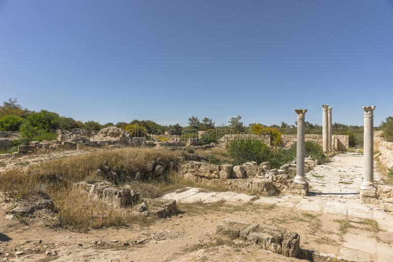 Ruiny miasto salami w Famie, Cypr zdjęcie stock