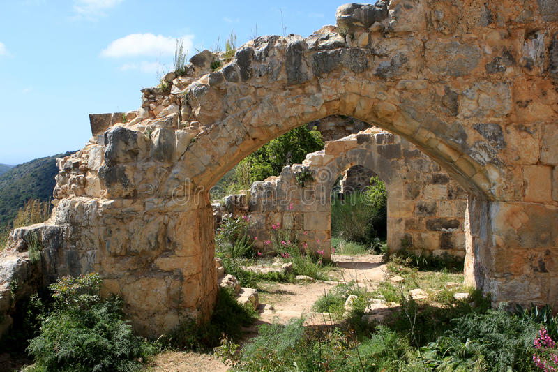 Ruiny Monfort kasztel, Izrael zdjęcia stock