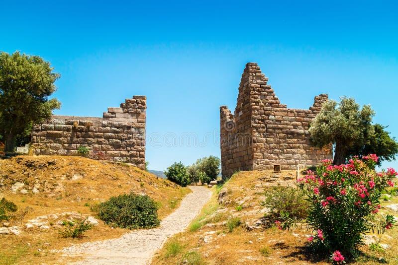 Ruiny Myndos brama w Bodrum, Turcja zdjęcia royalty free