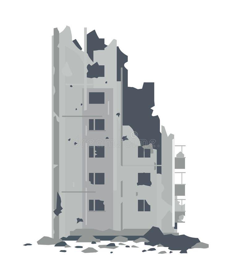 Ruiny od zniszczonego budynku ilustracji