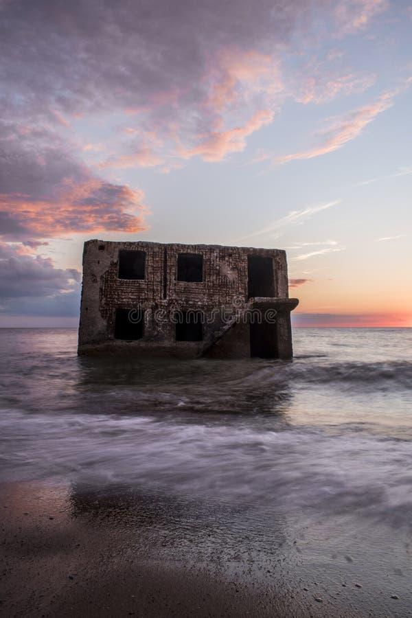 Ruiny Północni forty podczas zmierzchu w Liepaja, Latvia zdjęcie royalty free
