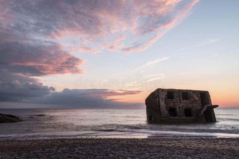 Ruiny Północni forty podczas zmierzchu w Liepaja, Latvia fotografia royalty free