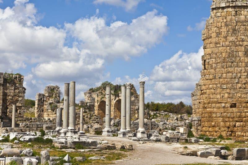 Ruiny Perge antyczny Anatolian miasto w Turcja obraz royalty free