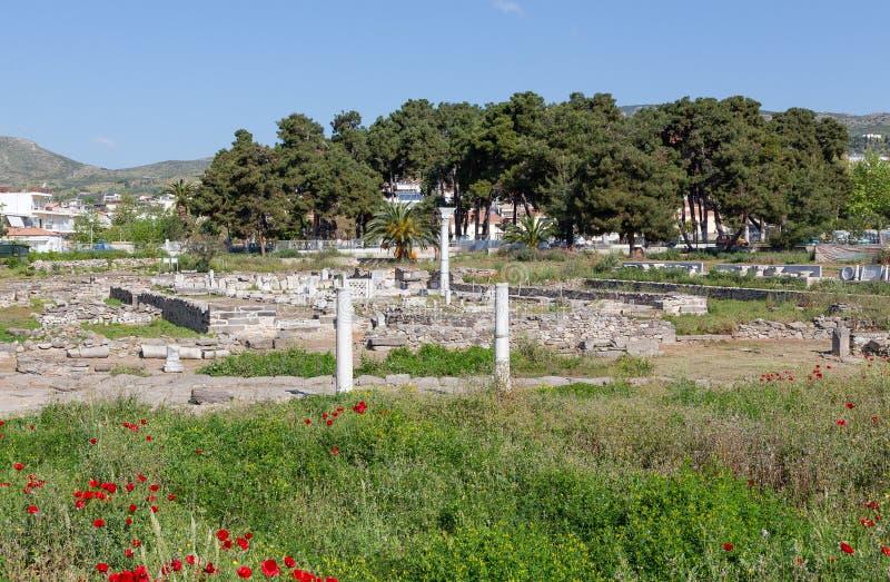 Ruiny Phthiotic Thebes w Nea Anchialos, Thessaly, Grecja zdjęcia stock