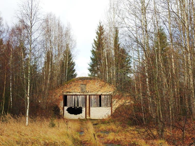 Ruiny rakietowa baza w lesie, Lithuania obraz stock