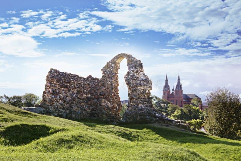 Ruiny Rezekne Grodowy wzgórze, Latvia obrazy royalty free