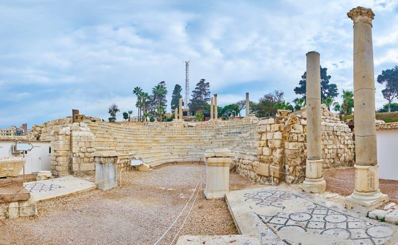 Ruiny Romański Amphitheatre, Aleksandria, Egipt fotografia stock