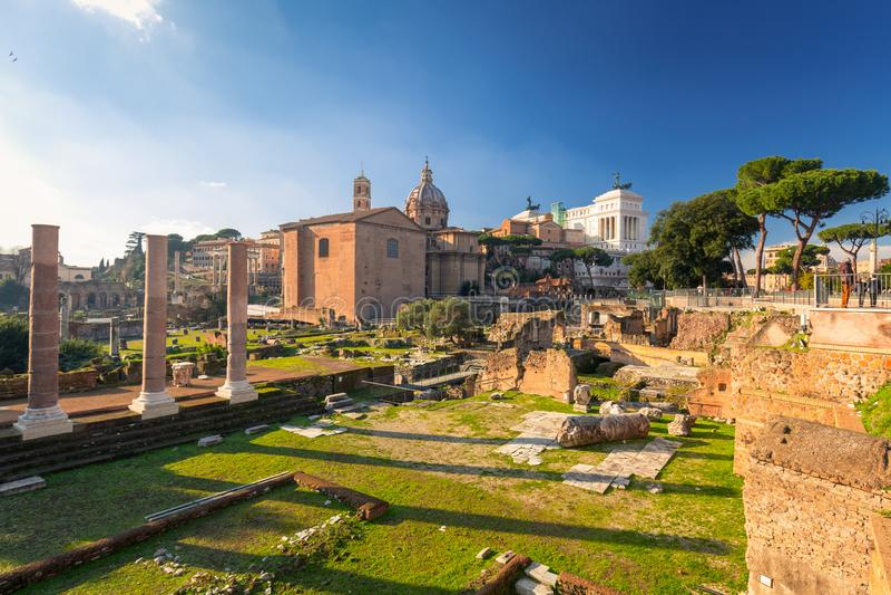 Ruiny Roma?ski forum w Rzym, W?ochy zdjęcie stock