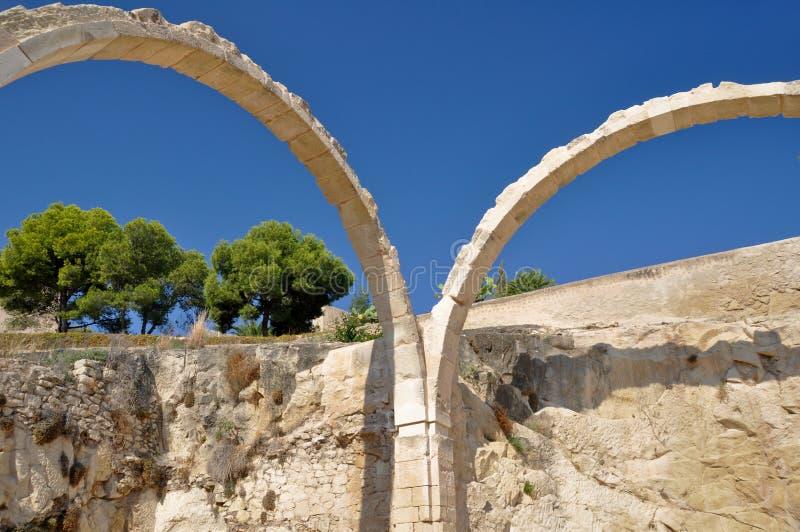Ruiny Santa Barbara roszują, Alicante (Hiszpania) zdjęcie stock