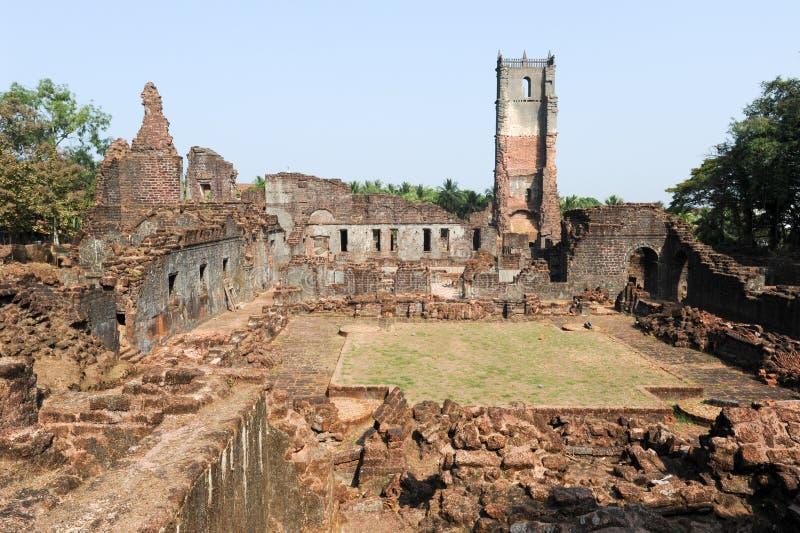 Ruiny St Augustine klasztoru kompleks przy Starym Goa zdjęcie stock