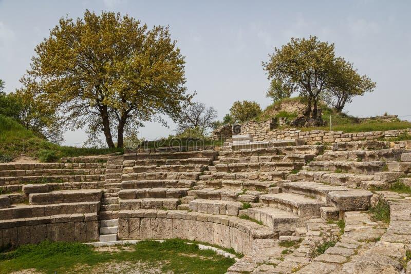 Ruiny starożytnego grka miasto Troja obrazy stock