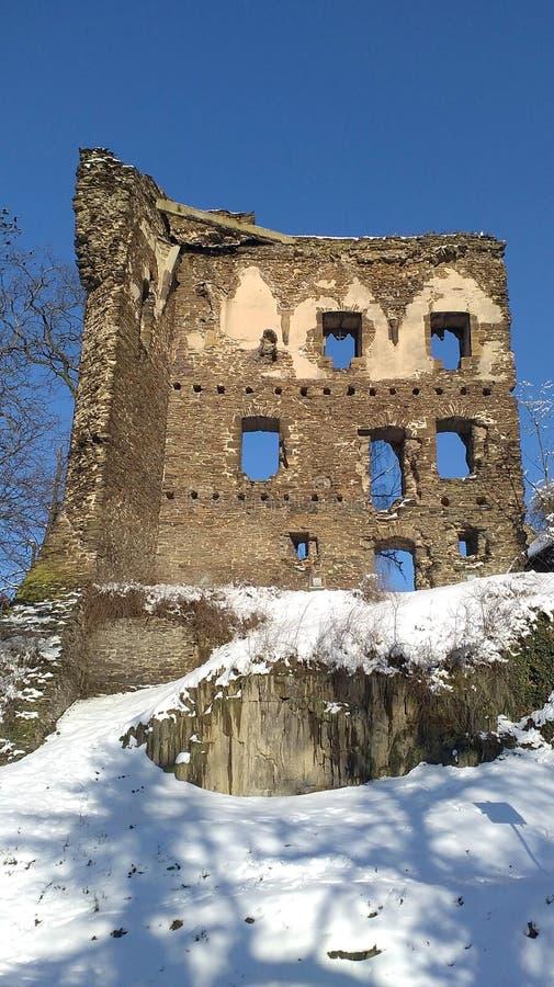 Ruiny stary kasztel, ricany, republika czech zdjęcia stock