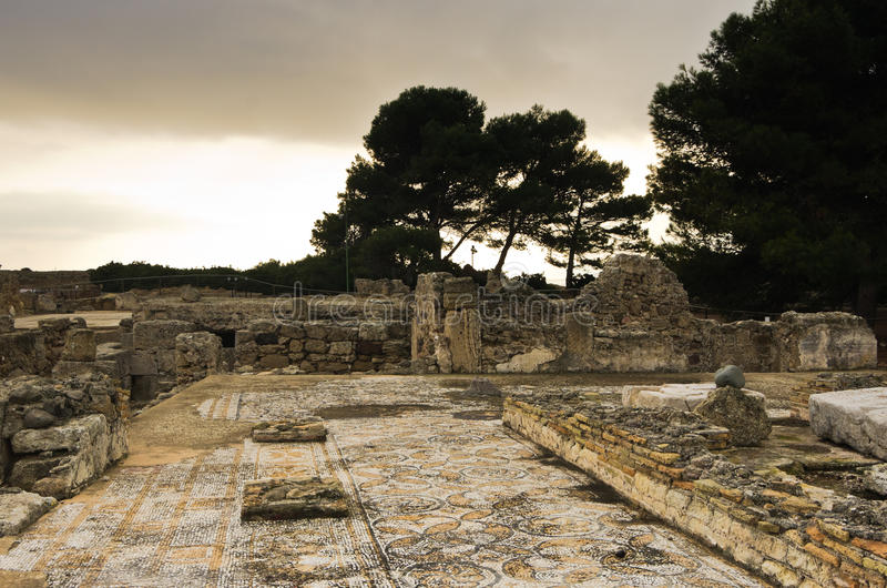 Ruiny stary rzymski miasto Nora, wyspa Sardinia obrazy stock