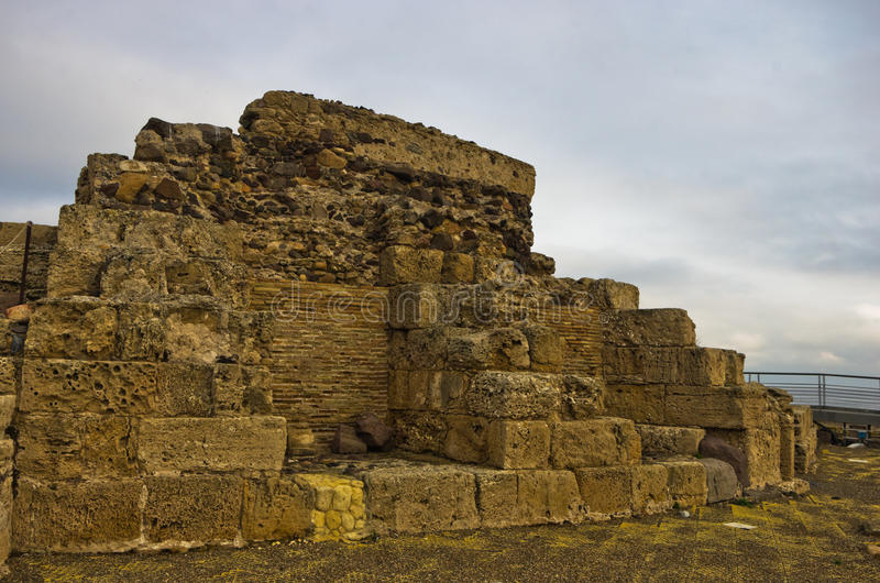 Ruiny stary rzymski miasto Nora, wyspa Sardinia fotografia royalty free