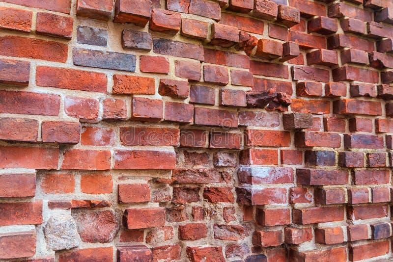 Ruiny stary Teutoński kasztel w Toruńskim, Polska czerwień ceglasta mur tło fotografia royalty free