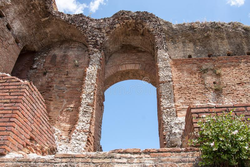 Ruiny Teatro Di Taormina, Sicily, Włochy zdjęcia royalty free
