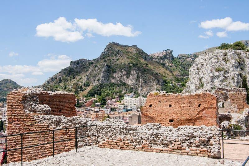 Ruiny Teatro Di Taormina, Sicily, Włochy obrazy royalty free