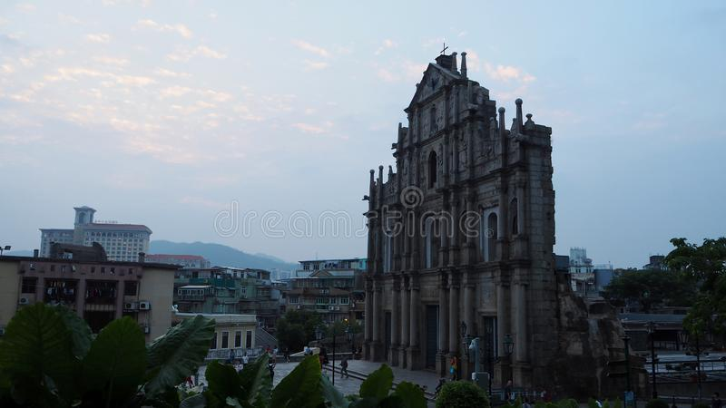 Ruiny ten St Paul Historyczny centrum Macau obraz royalty free