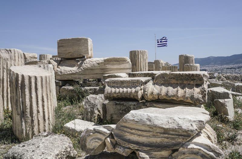 Ruiny w Ateńskim akropolu w Ateny, Grecja zdjęcie stock