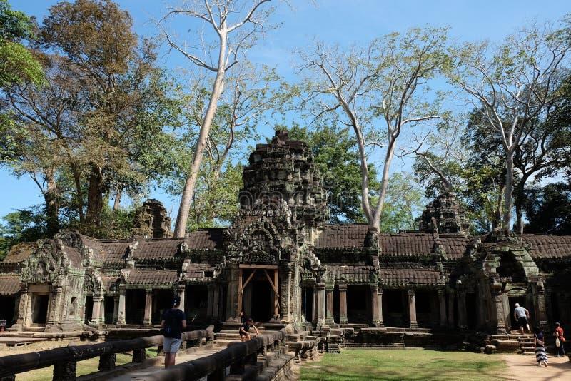 Ruiny ?wi?tynny kompleks Ta Prohm w Kambod?a Architektoniczny dziedzictwo Khmer imperium Arcydzie?o ?wiat obraz royalty free