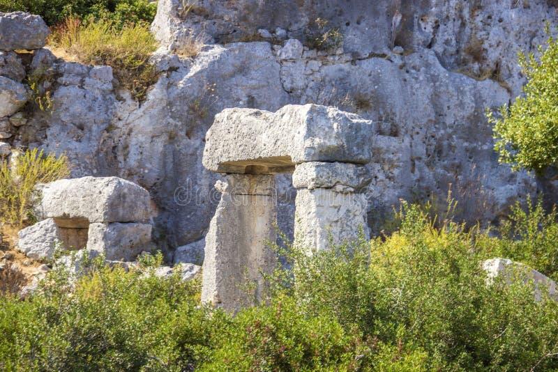 Ruiny Zapadnięty miasto na Kekova, mała Turecka wyspa blisko Demre Antalya prowincja, Turcja fotografia royalty free