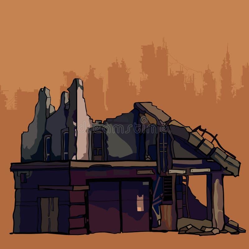 Ruiny zniszczony stary budynek ilustracji