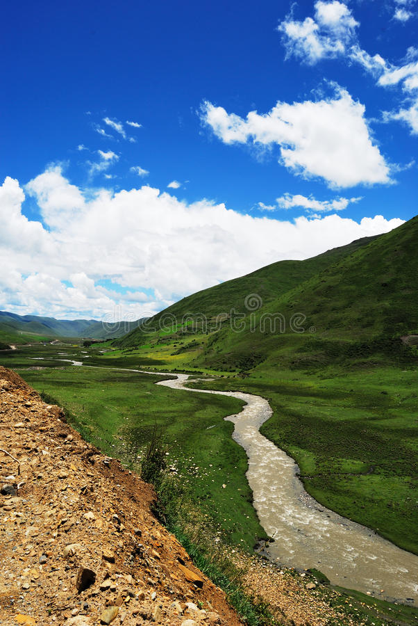 Ruisseau dans le plateau occidental de Sichuan image libre de droits