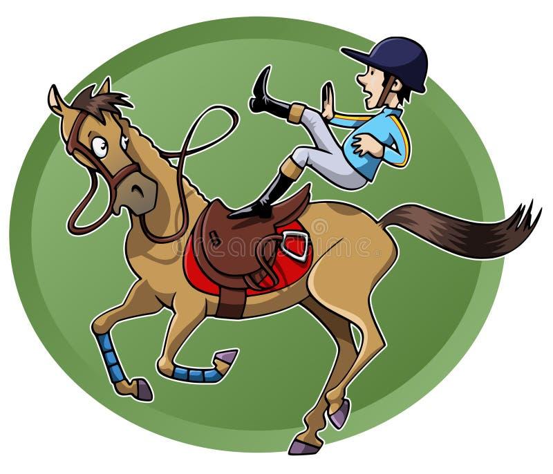 Ruiter die van zijn paard valt vector illustratie