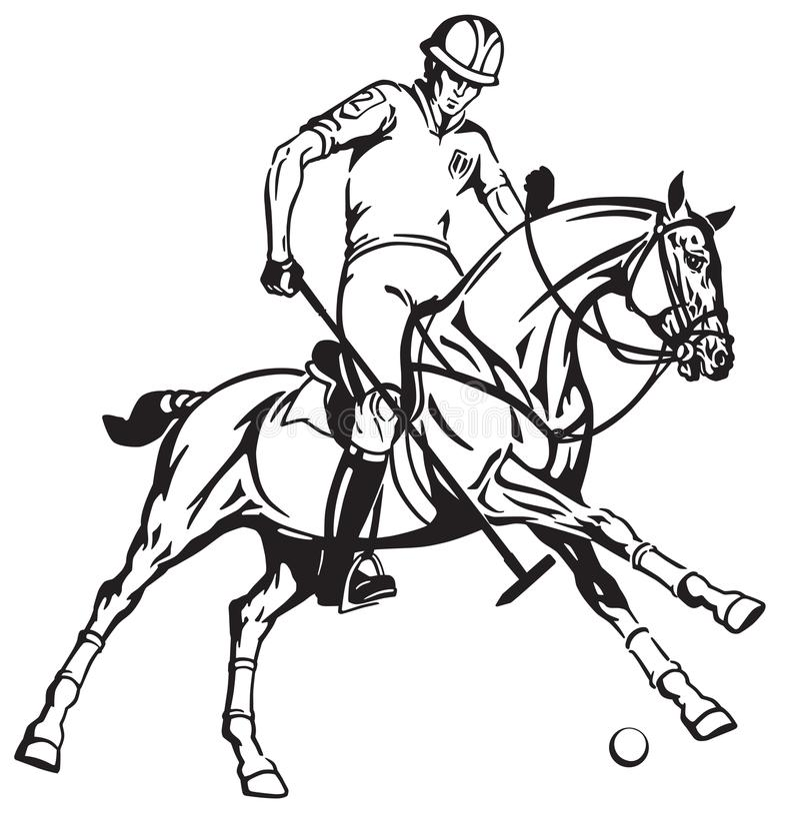 Ruiterpolospeler op poneyhorseback stock illustratie
