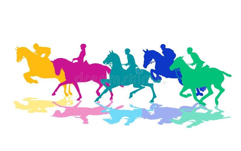Ruiters op paarden vector illustratie