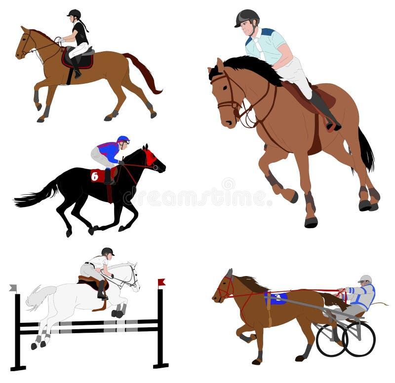 Ruitersporten de dressuur, sprong toont, galop, uitrusting het rennen royalty-vrije illustratie