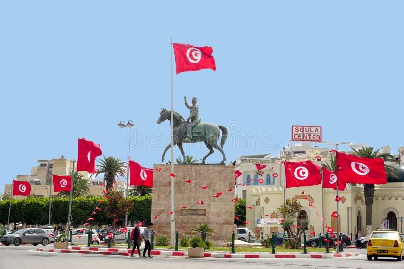Ruiterstandbeeld van Habib Bourguiba in Sousse, Tunesië royalty-vrije stock foto's