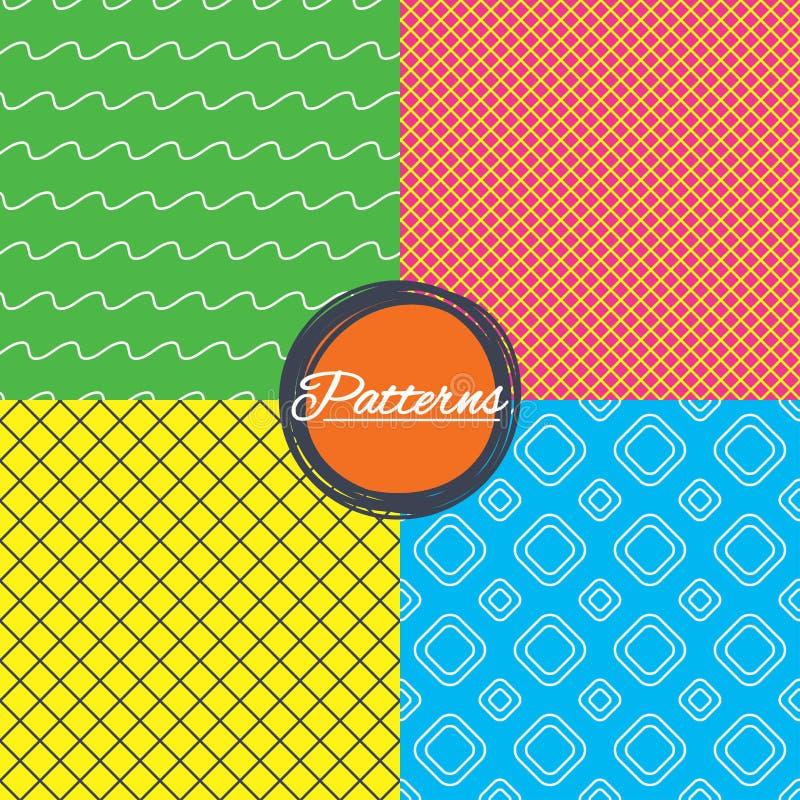 Ruitnet en de naadloze texturen van golvenlijnen vector illustratie