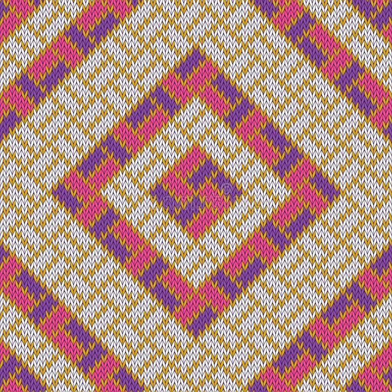 Ruitvormig wollen comfortabel gebreid naadloos patroon met gouden stroken stock illustratie