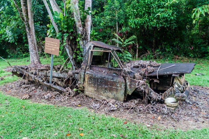 Rujnująca ciężarówka przy leśniczy stacją grzebionatki przyrody Basenowy sanktuarium, Beliz obrazy royalty free