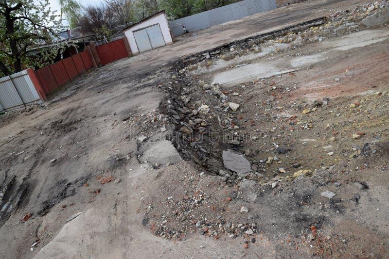 rujnująca podstawa stary budynek ściany piwnica wyburzający budynek i gruzy, zdjęcie royalty free