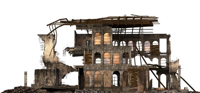 Rujnujący budynek Odizolowywający Na Białej 3D ilustraci ilustracja wektor