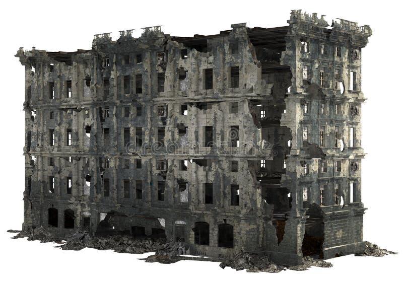 Rujnujący budynek Odizolowywający Na Białej 3D ilustraci ilustracji
