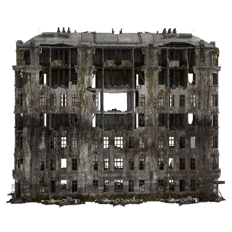Rujnujący budynek Odizolowywający Na Białej 3D ilustraci royalty ilustracja