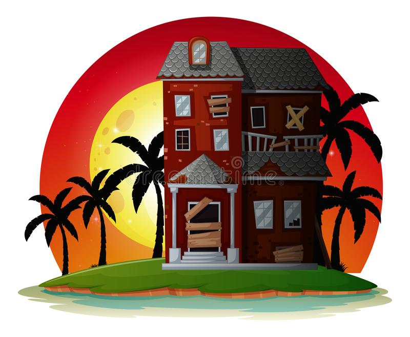 Rujnujący dom na wyspie ilustracja wektor