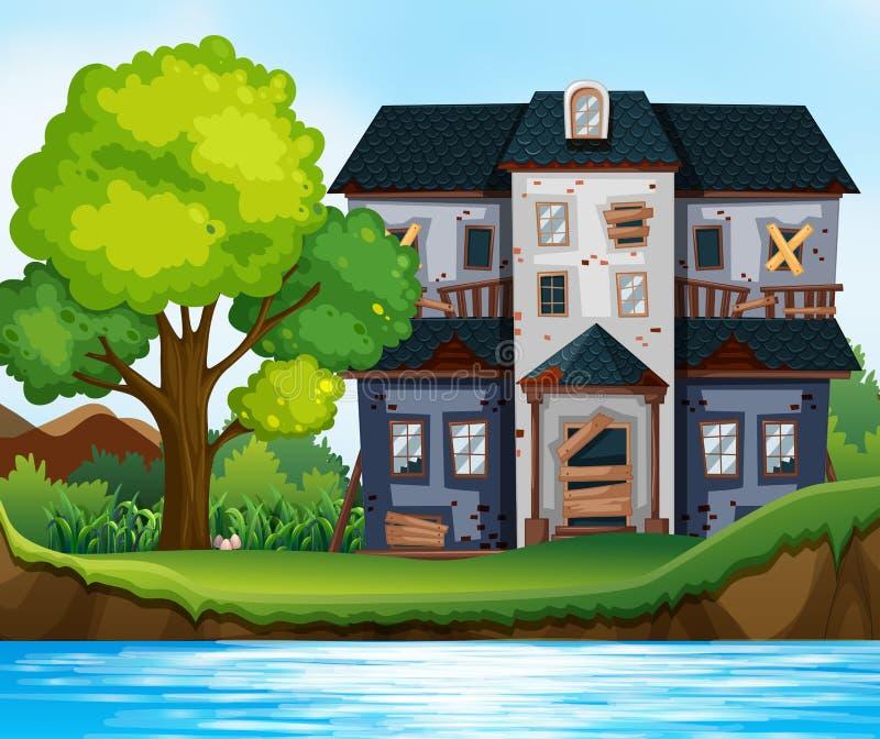 Rujnujący dom stawem royalty ilustracja