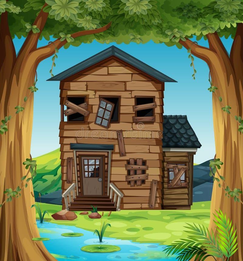 Rujnujący dom w drewnach ilustracja wektor