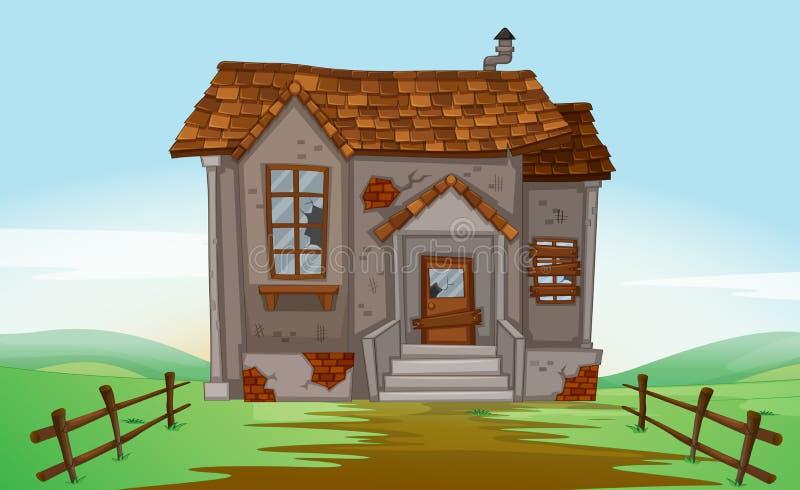 Rujnujący dom w polu ilustracja wektor