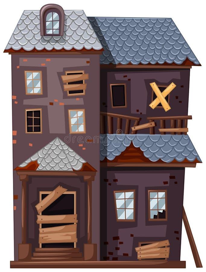 Rujnujący domowy z łamanymi okno i drzwi ilustracji