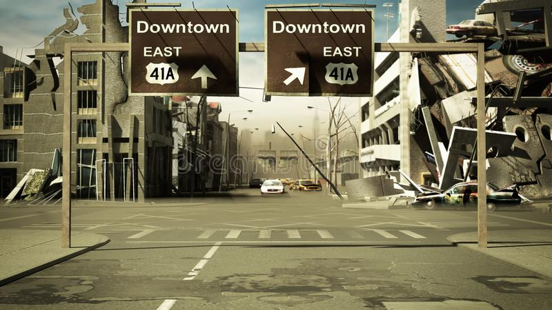 Rujnujący miasta tło w poczta apocalypse stylu 3d odpłaca się ilustracja wektor