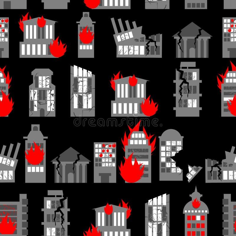 Rujnujący miasto bezszwowy wzór Ruiny budynki Ogień wewnątrz stwarza ognisko domowe ilustracja wektor